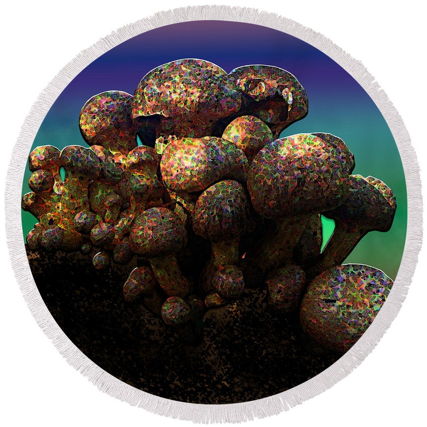 Mushrooms Round Beach Towel featuring the digital art Strange Mushrooms 2 by Diane Parnell