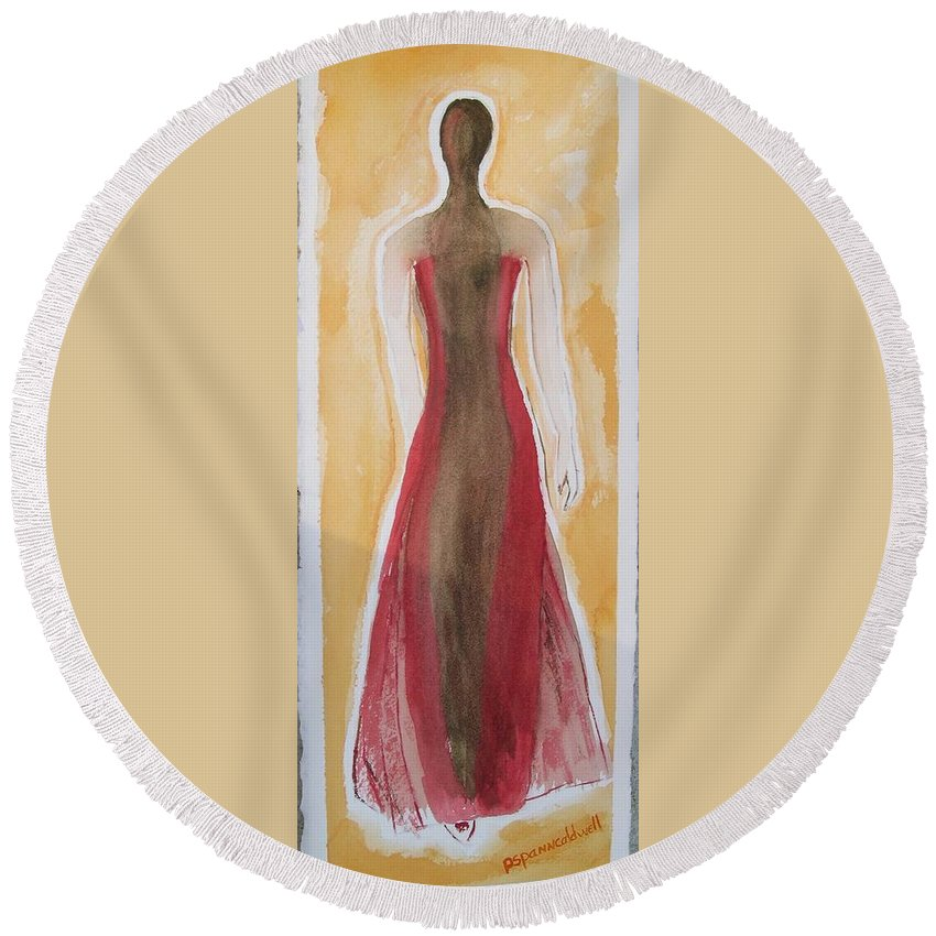 Dress Lady Red Yellow Fashion Round Beach Towel featuring the painting Stranger by Patricia Caldwell