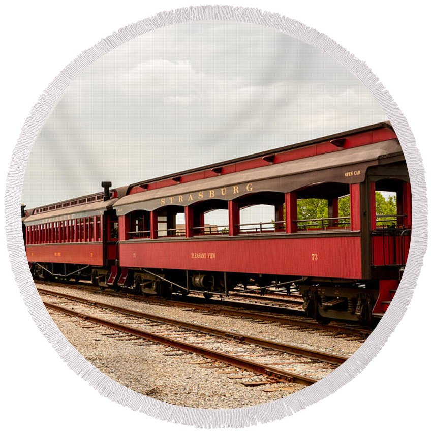 Railroad Round Beach Towel featuring the photograph Strasburg Passenger Cars by Jennifer Wick