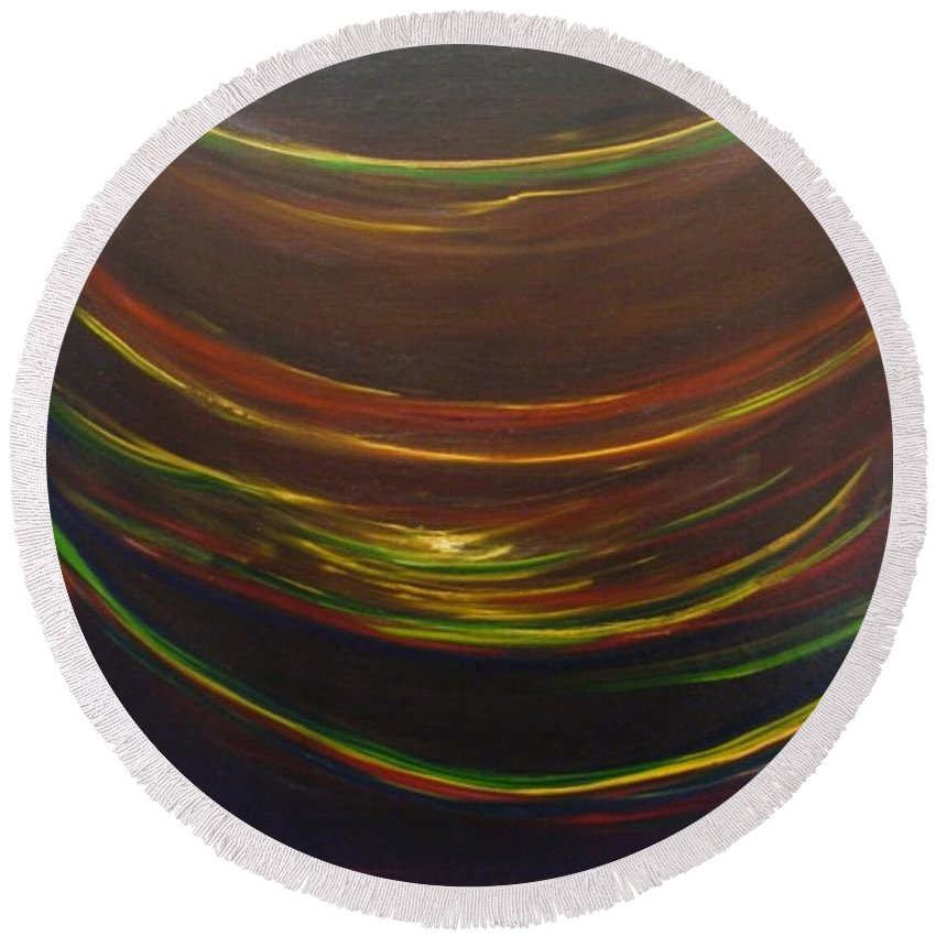 Rainbow Red Yellow Obama Round Beach Towel featuring the painting Strata Surf by Jack Diamond