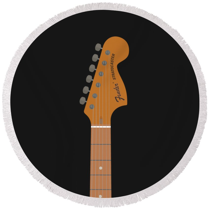 Stratocaster Round Beach Towel featuring the digital art Stratocaster Guitar by Renato Kolberg