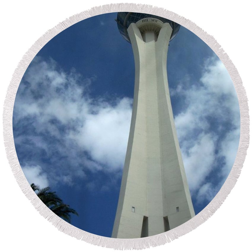 Stratosphere Tower Round Beach Towel featuring the photograph Stratosphere Tower by Anita Burgermeister