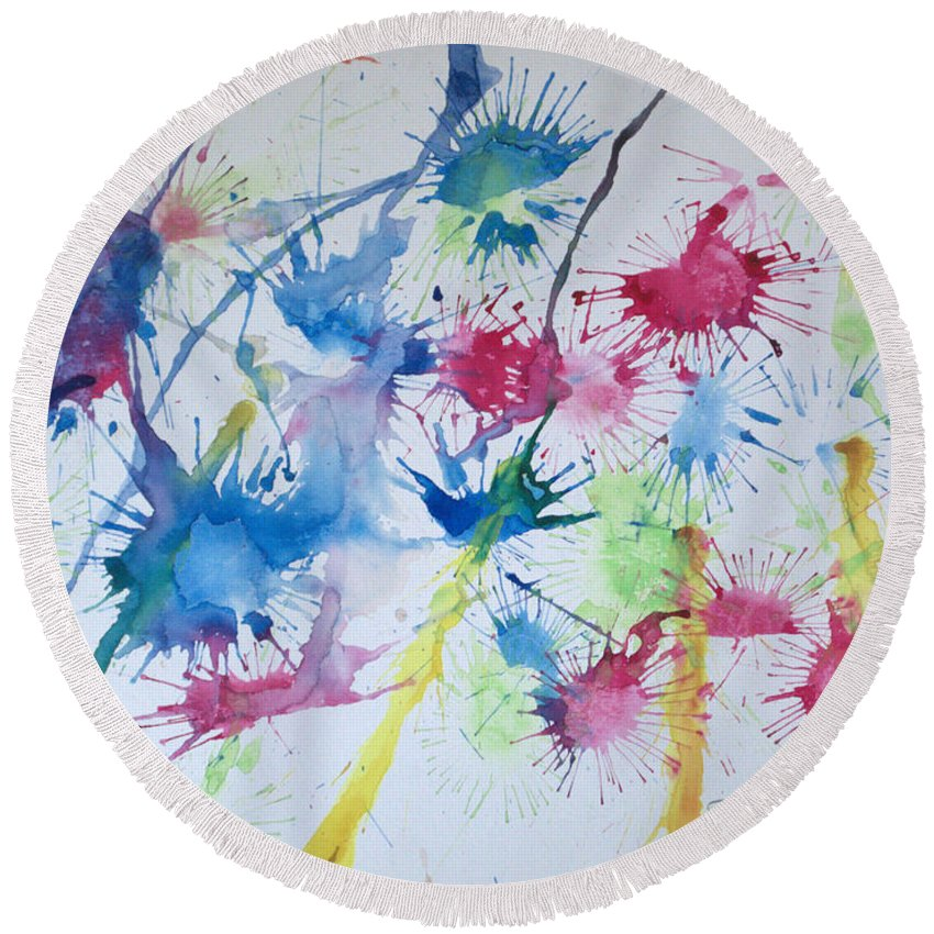 Straw Blown Painting Round Beach Towel featuring the painting Straw Blown by J R Seymour