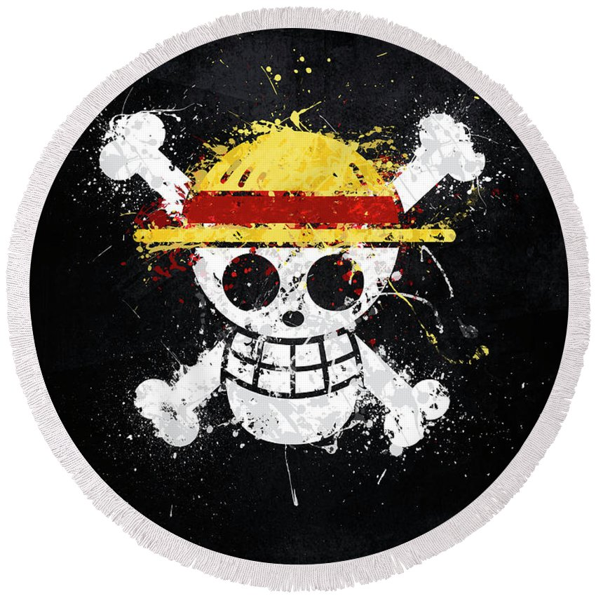 Straw Hat Pirates Jolly Roger Round Beach Towel For Sale By Jonathon