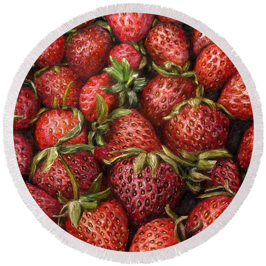 Strawberries Round Beach Towel featuring the painting Strawberries -2 Contemporary Oil Painting by Natalja Picugina