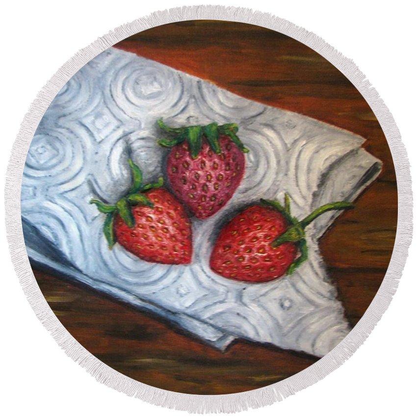 Strawberries Round Beach Towel featuring the painting Strawberries-3 contemporary oil painting by Natalja Picugina