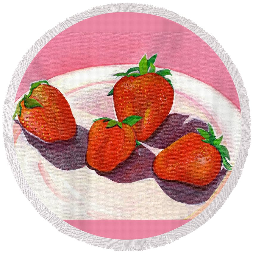 Food Round Beach Towel featuring the painting Strawberries and Cream by Helena Tiainen
