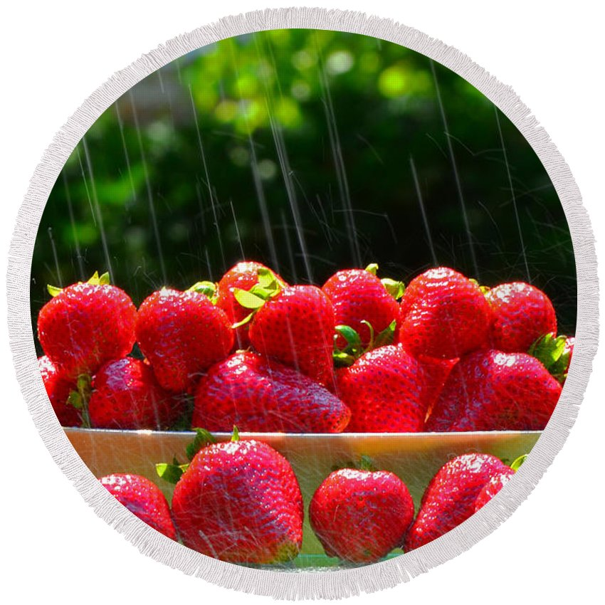 Fruit Round Beach Towel featuring the photograph Strawberries And Summer Showers by Dick Hopkins