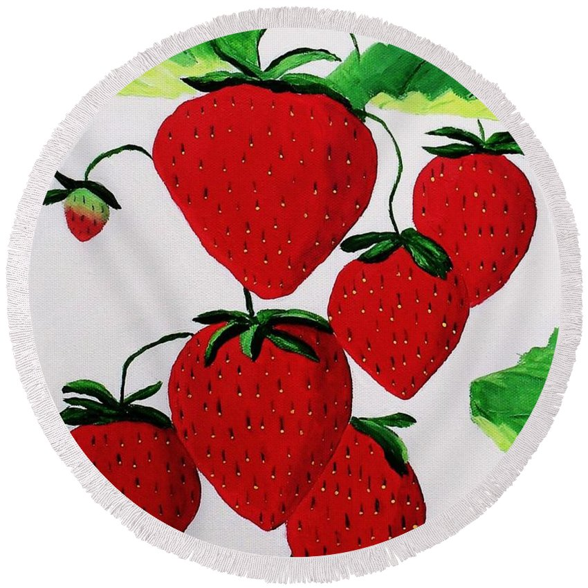Strawberries Round Beach Towel featuring the painting Strawberries by Rodney Campbell