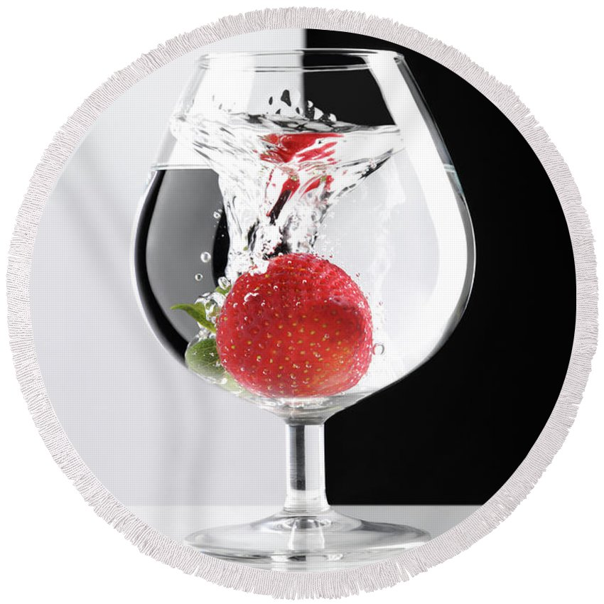 Strawberry Round Beach Towel featuring the photograph Strawberry In A Glass by Maxim Images Prints