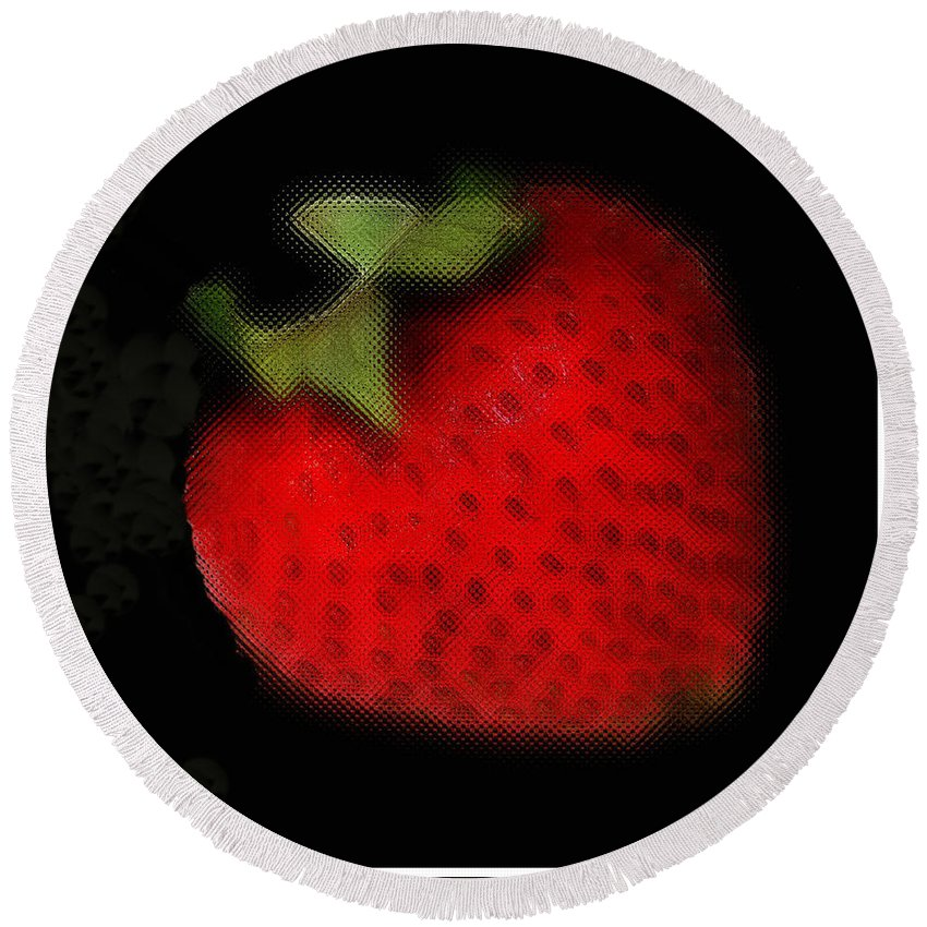 Still Life Round Beach Towel featuring the photograph Strawberry by Linda Sannuti