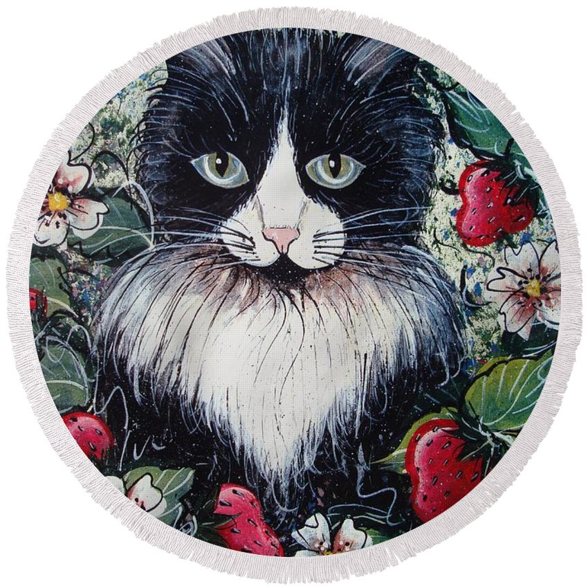Cat Round Beach Towel featuring the painting Strawberry Lover Cat by Natalie Holland