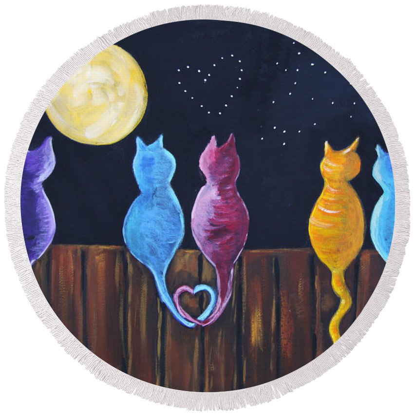 Stray Round Beach Towel featuring the painting Stray Cats In Moonlight by Diana Haronis