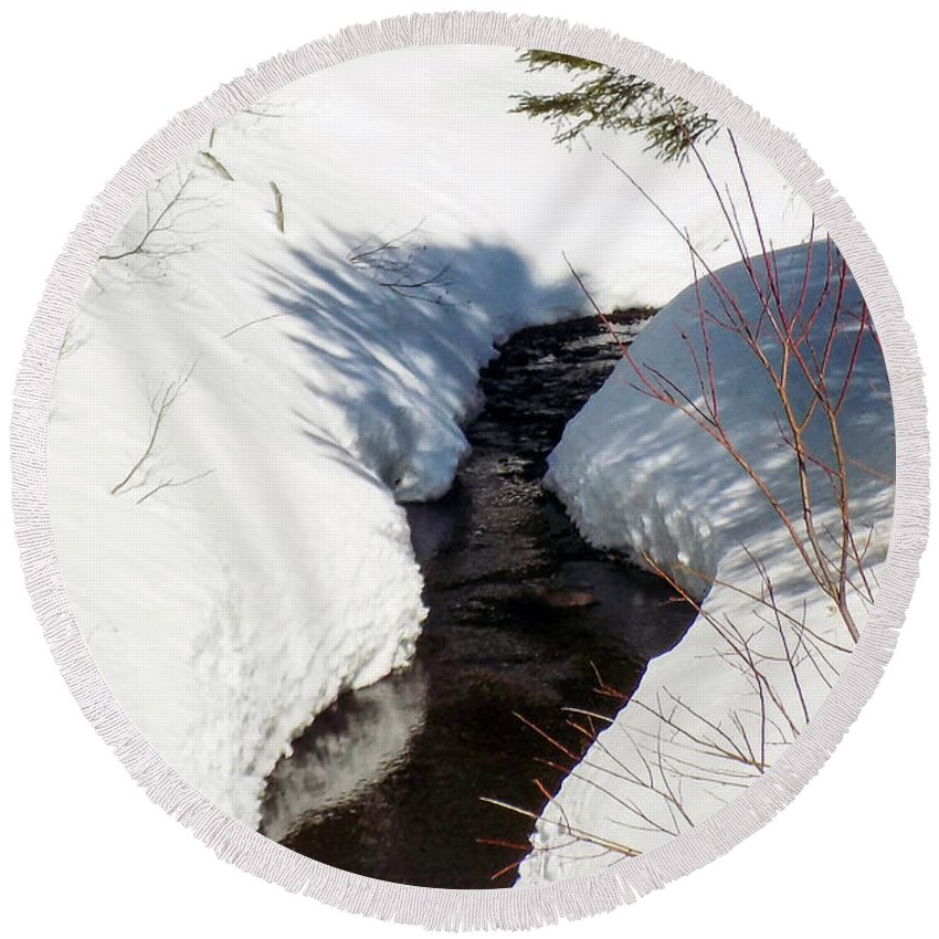 Stream Round Beach Towel featuring the photograph Stream In The Shadows by William Tasker