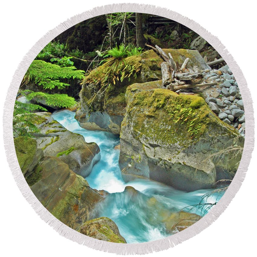 Blue Water River Round Beach Towel featuring the photograph Stream Of Beauty by George E Richards