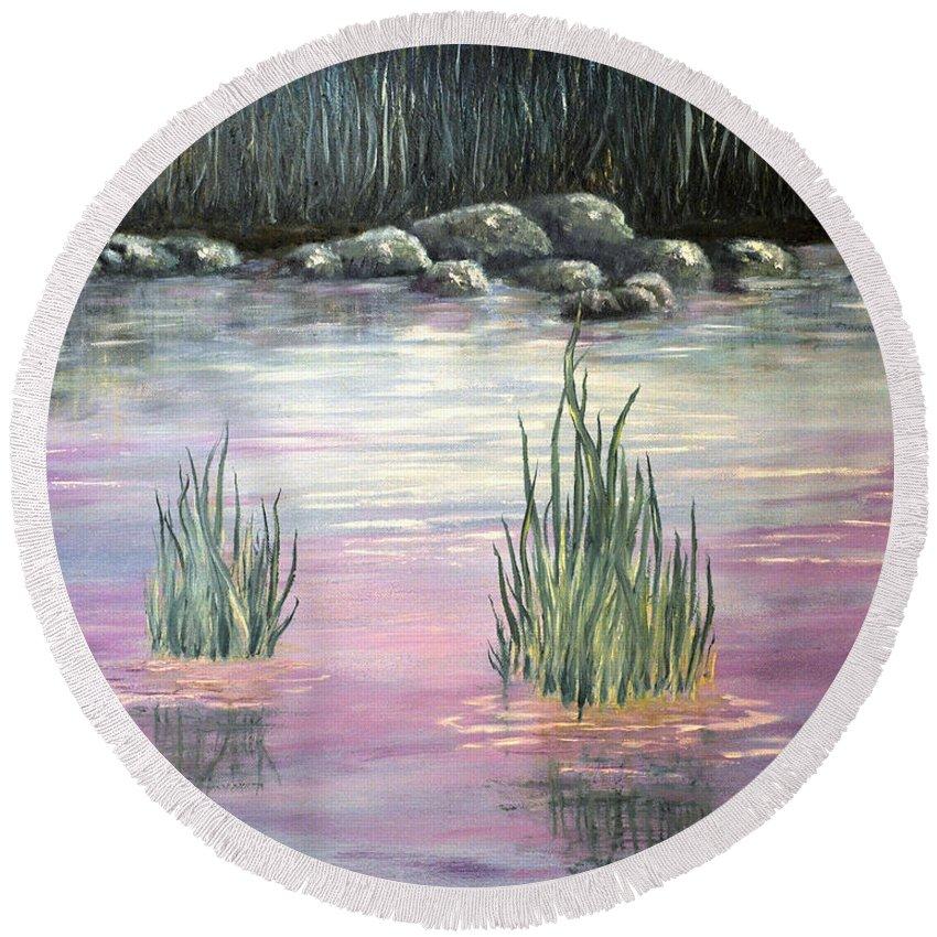 Stream Santa Fe New Mexico Round Beach Towel featuring the painting Stream Santa Fe Nm by Barney Napolske