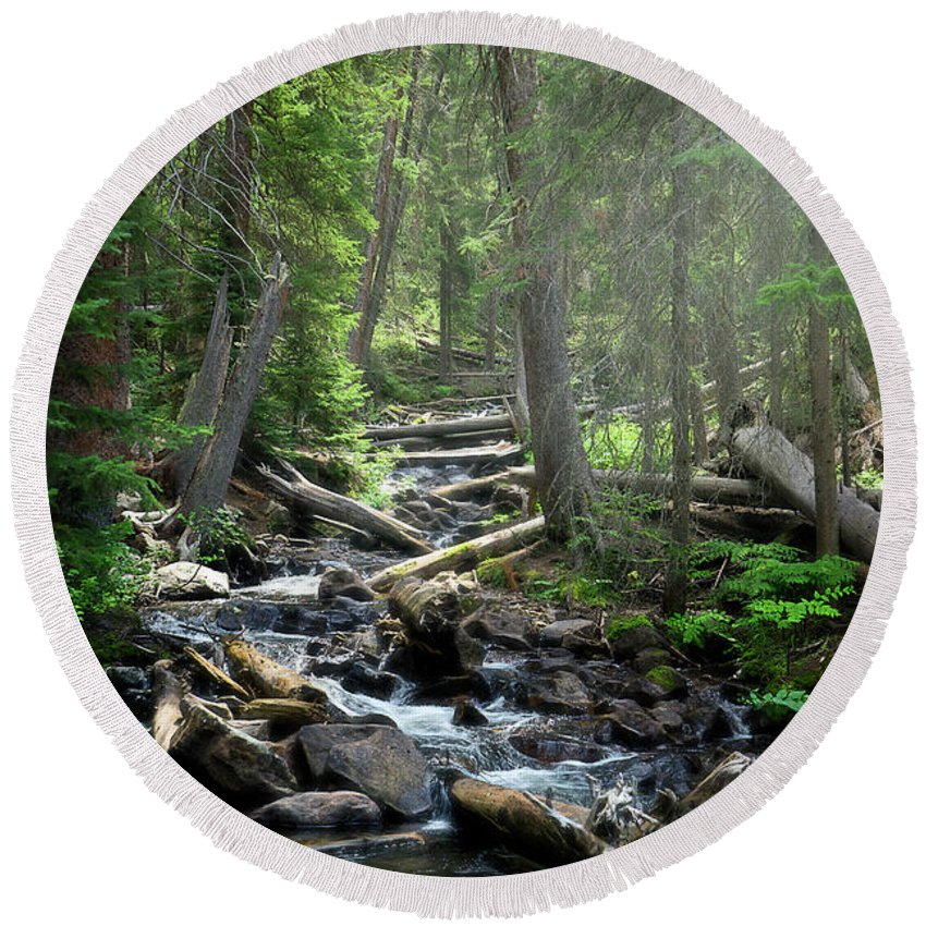 Waterfall Round Beach Towel featuring the photograph Streaming Through The Trees by Alisha Jurgens