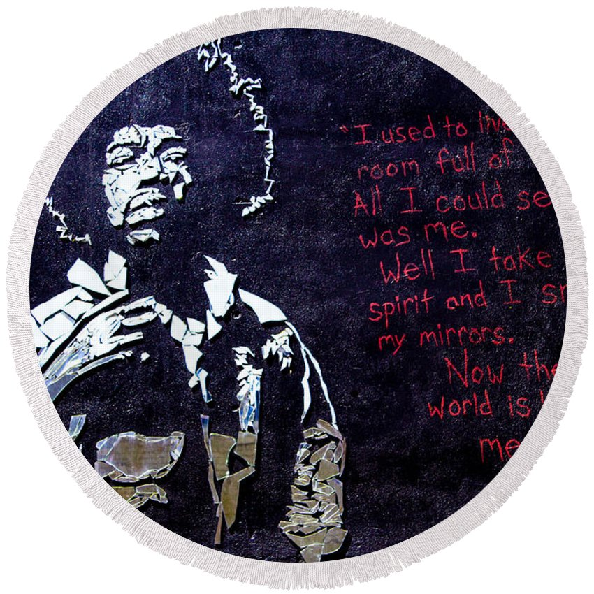 Jimmy Hendrix Round Beach Towel featuring the digital art Street Art - Jimmy Hendrix by Mia DeBolt