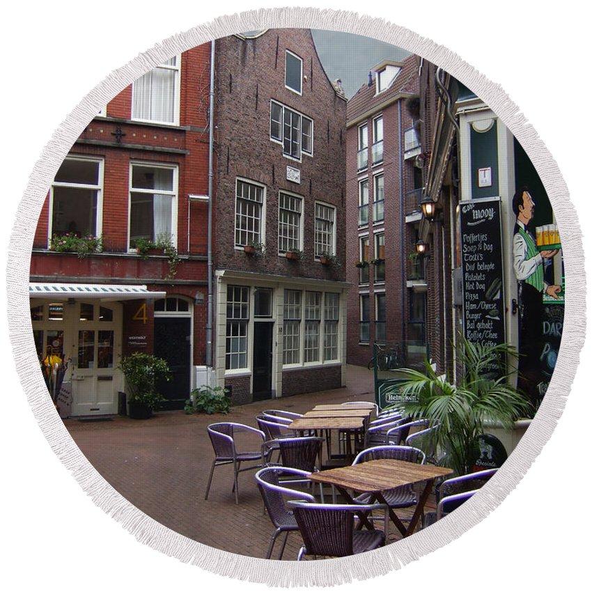 Amsterdam Round Beach Towel featuring the photograph Street Cafe Mooy In Amsterdam by Ginger Wakem