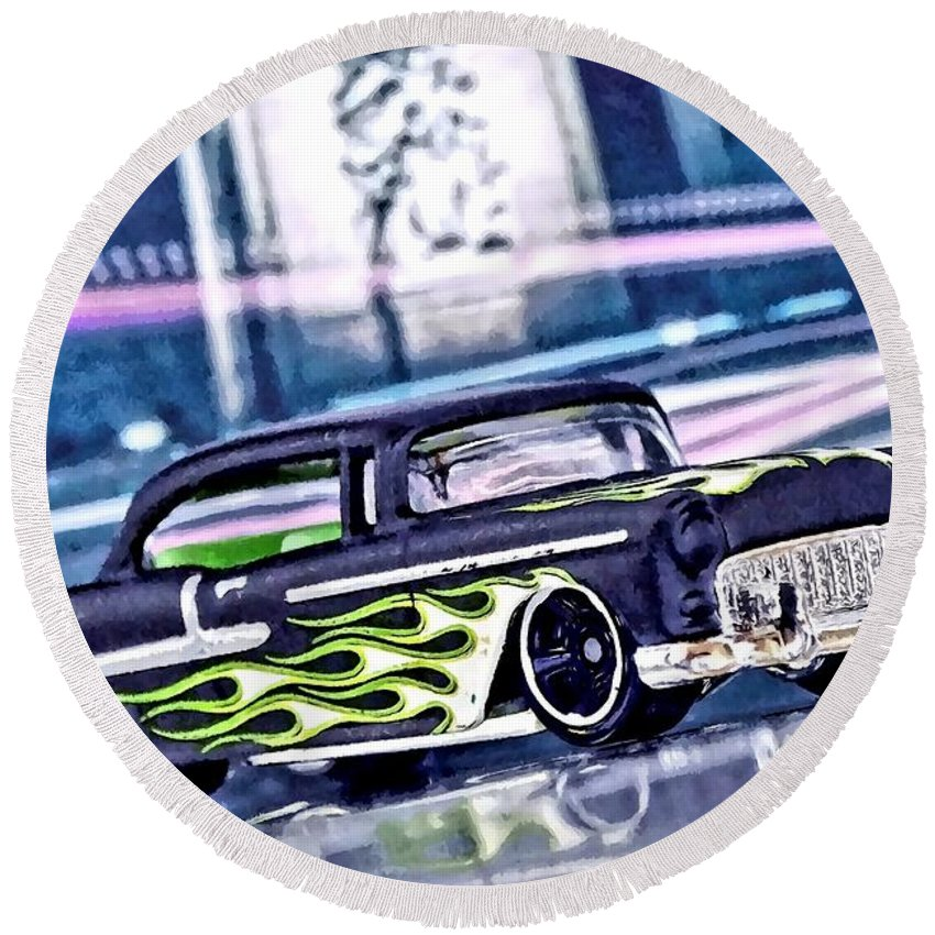 Street Cruiser Round Beach Towel featuring the mixed media Street Cruiser - American Way Of Drive 4 By Jean-louis Glineur by Jean-Louis Glineur alias DeVerviers