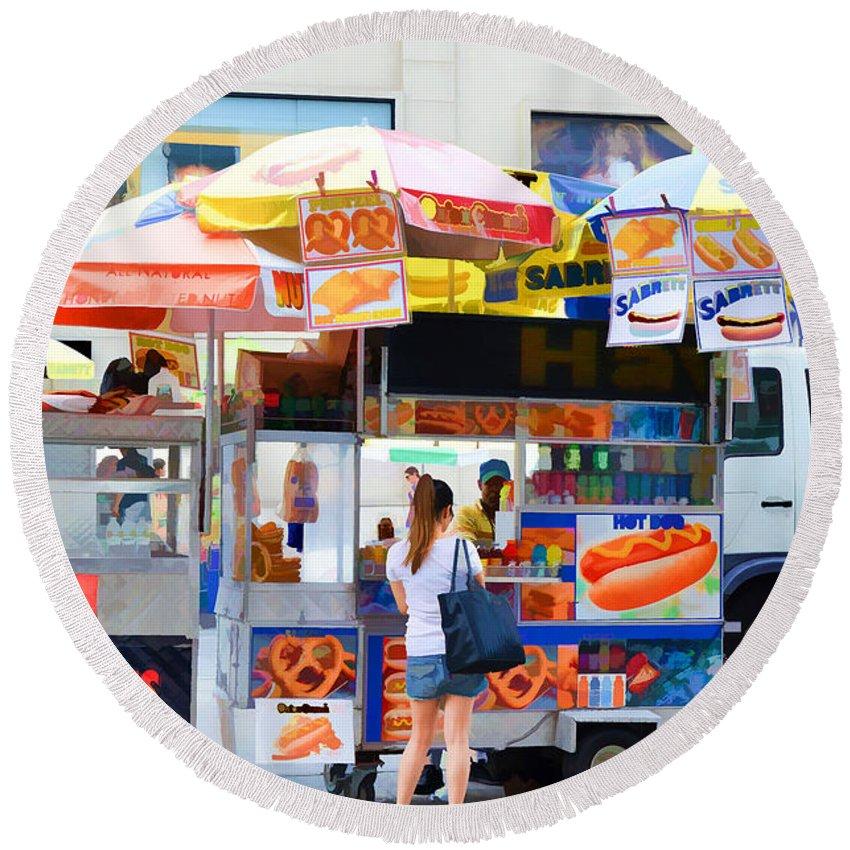 Street Food Round Beach Towel featuring the painting Street Food 2 by Jeelan Clark