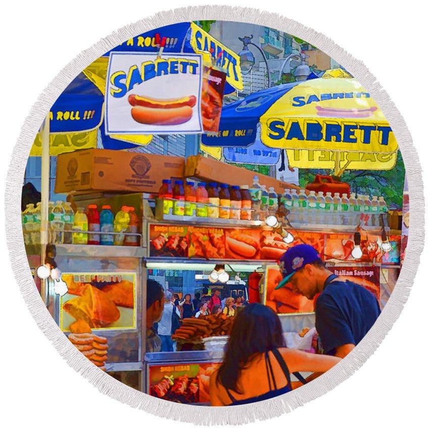Street Food Round Beach Towel featuring the painting Street Food 5 by Jeelan Clark