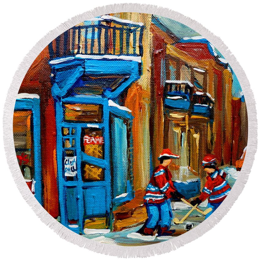 Wilenskys Round Beach Towel featuring the painting Street Hockey At Wilensky's Montreal by Carole Spandau