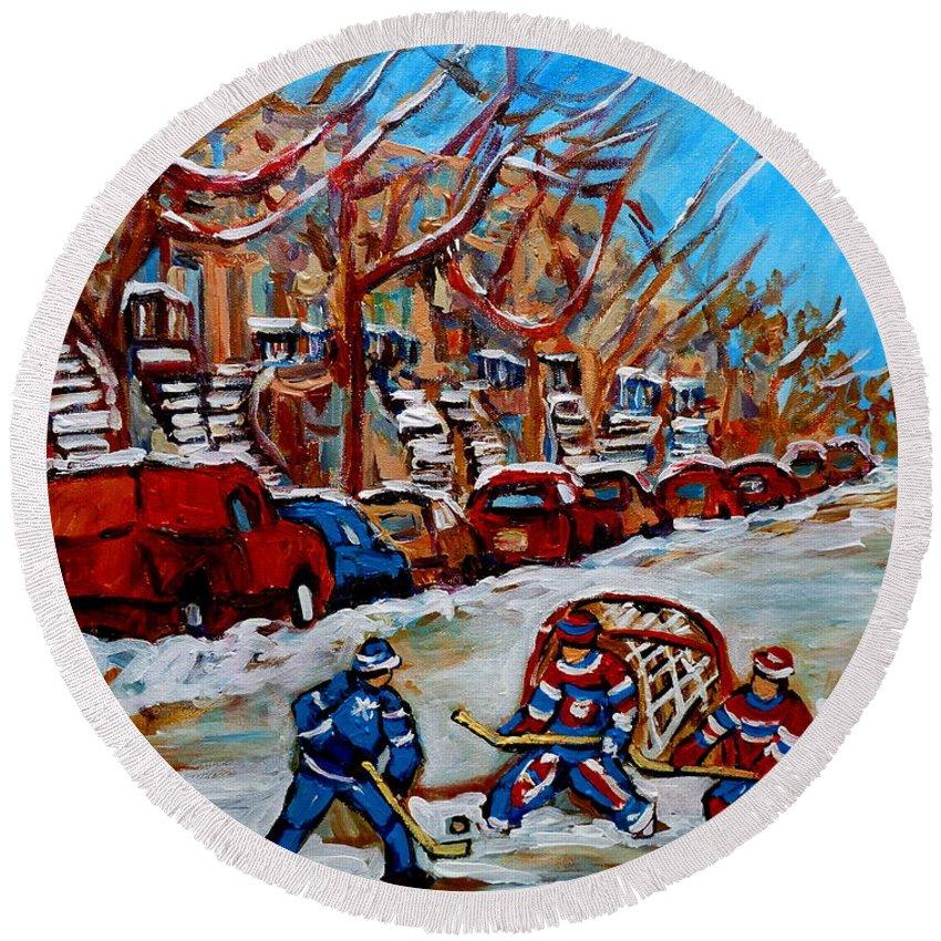 Street Hockey Hotel De Ville Round Beach Towel featuring the painting Street Hockey Hotel De Ville by Carole Spandau