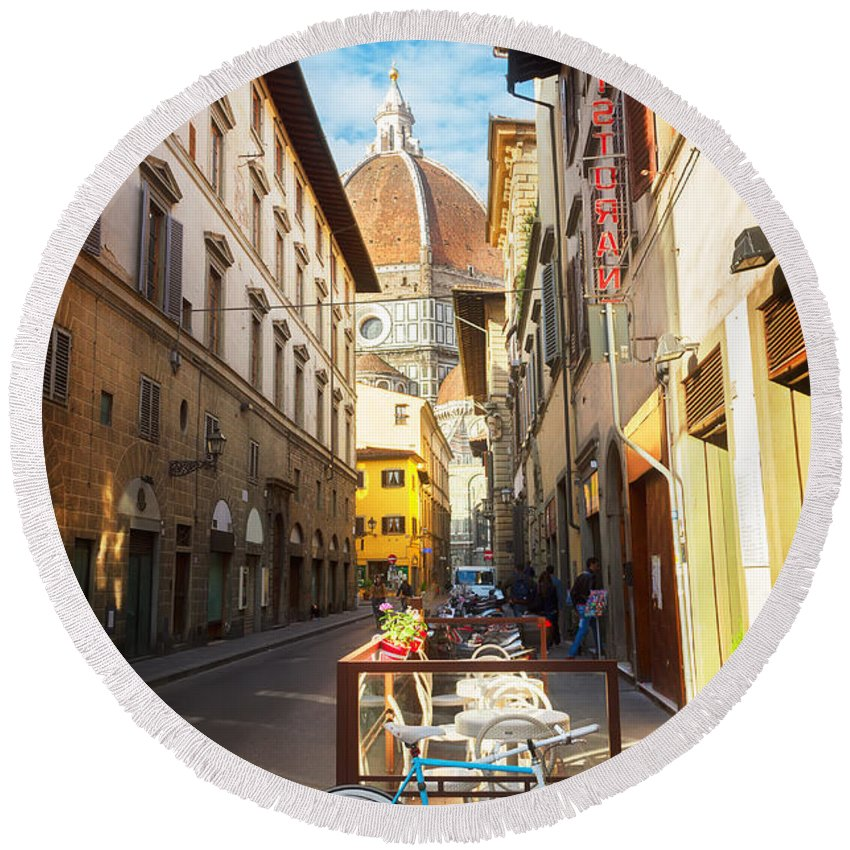Florence Round Beach Towel featuring the photograph Street In Florence by Anastasy Yarmolovich