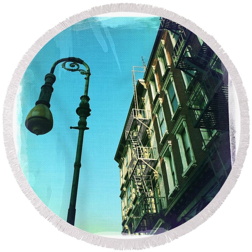 Round Beach Towel featuring the photograph Street Lamp And Fire Escape by Nina Prommer