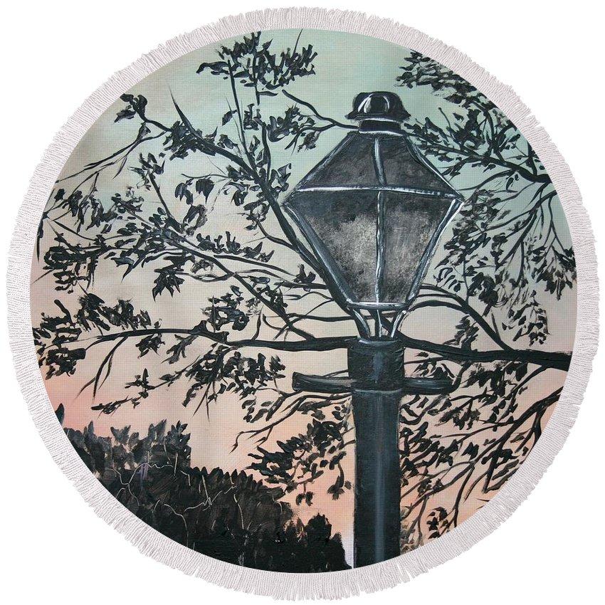 Painting On Wood Round Beach Towel featuring the painting Street Lamp Historic Vintage Art Print by Derek Mccrea