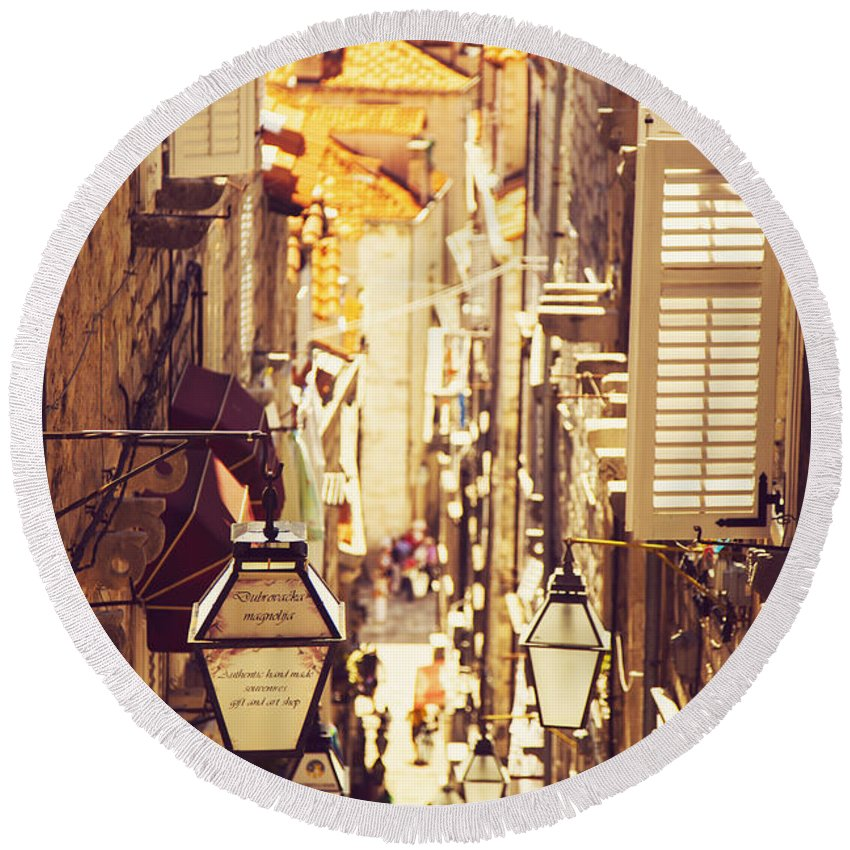 Architecture Round Beach Towel featuring the photograph Street Of Dubrovnik Old Town by Sandra Rugina