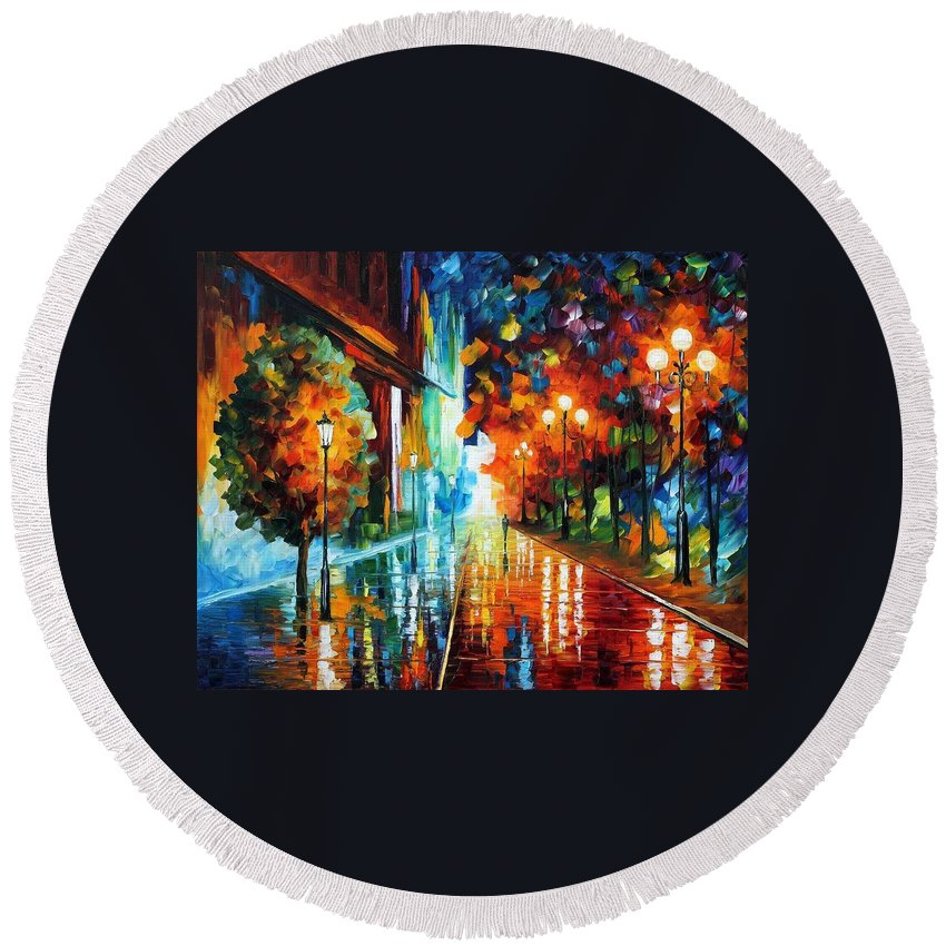 Afremov Round Beach Towel featuring the painting Street Of Hope by Leonid Afremov