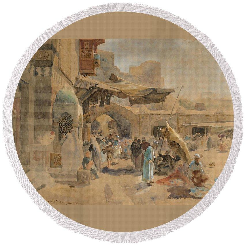 Gustav Bauernfeind Round Beach Towel featuring the painting Street Scene In Jaffa by Gustav Bauernfeind