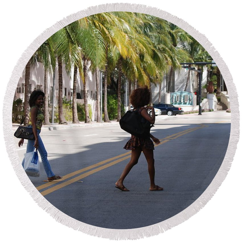 Girls Round Beach Towel featuring the photograph Street Walkers by Rob Hans
