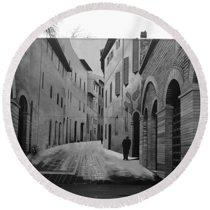Street Round Beach Towel featuring the photograph Street Within A Street by Two Small Potatoes