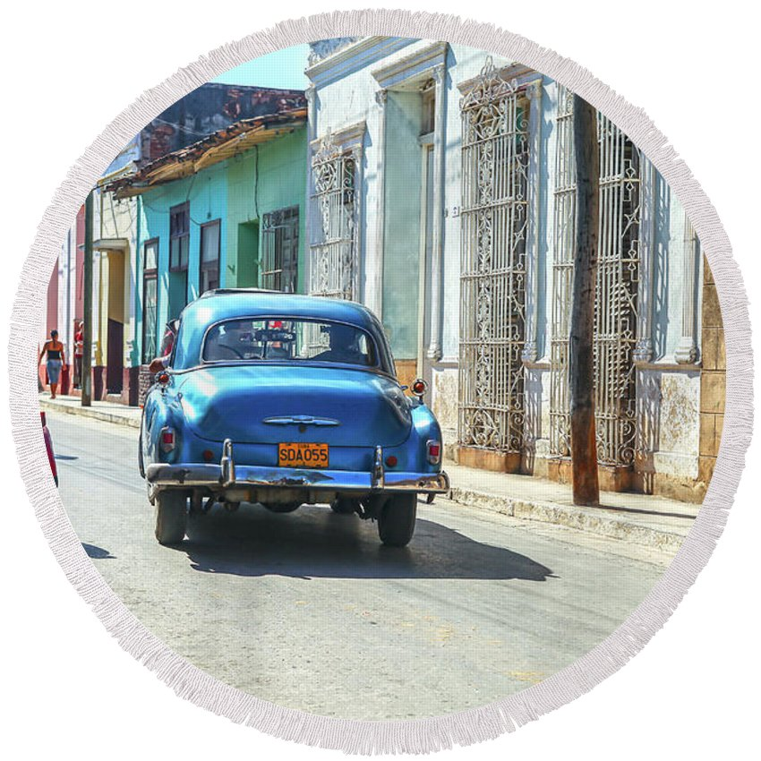 Cuba Round Beach Towel featuring the photograph Streetlife With Car In Trinidad, Cuba by Patricia Hofmeester