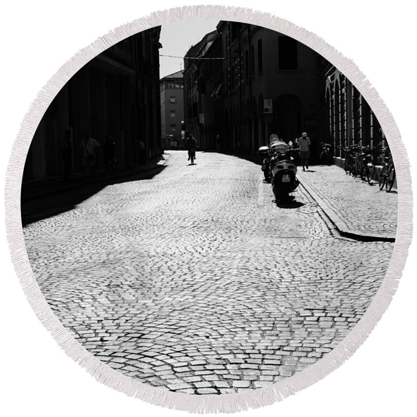 Cesena Round Beach Towel featuring the photograph Streets Of Cesena by Andrea Mazzocchetti