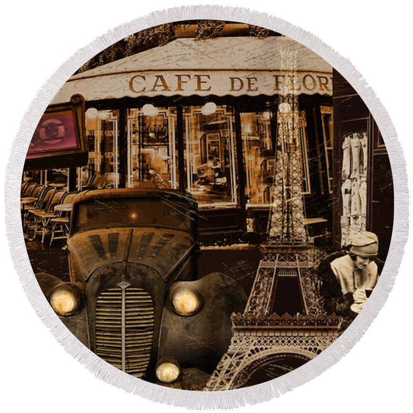 Paris Round Beach Towel featuring the painting Streets Of Paris by Mindy Sommers
