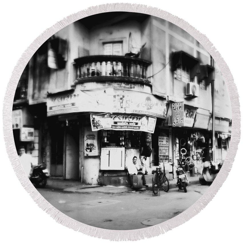 #street Photograohy #crossroads #street Corners #street Shops Round Beach Towel featuring the photograph StreetShots_Surat by Priyanka Dave