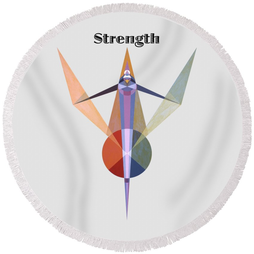 Painting Round Beach Towel featuring the painting Strength text by Michael Bellon
