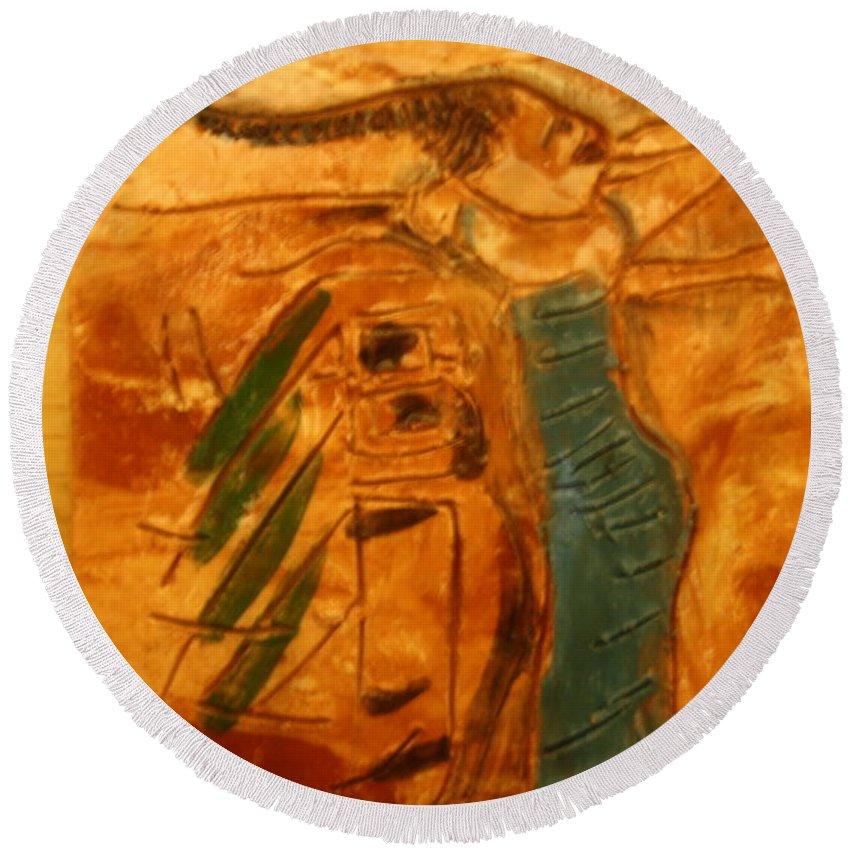 Jesus Round Beach Towel featuring the ceramic art Stretch - Tile by Gloria Ssali