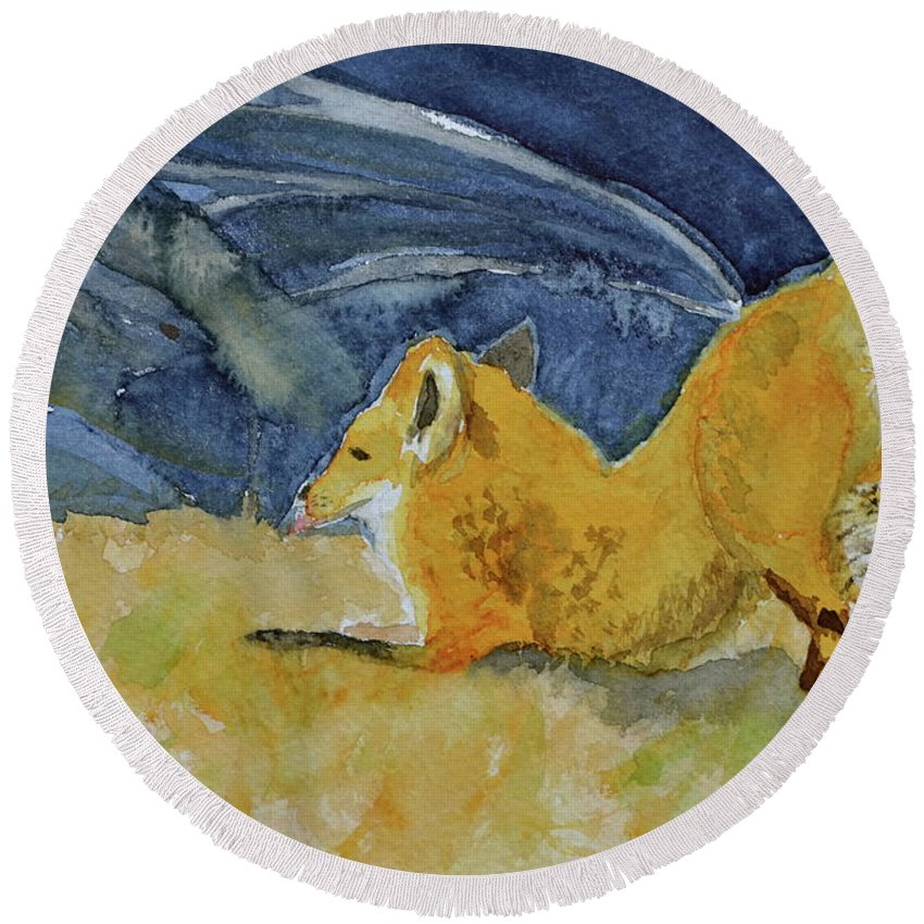 Fox Round Beach Towel featuring the painting Stretch by Beverley Harper Tinsley