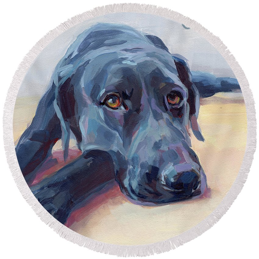 Black Lab Round Beach Towel featuring the painting Stretched by Kimberly Santini