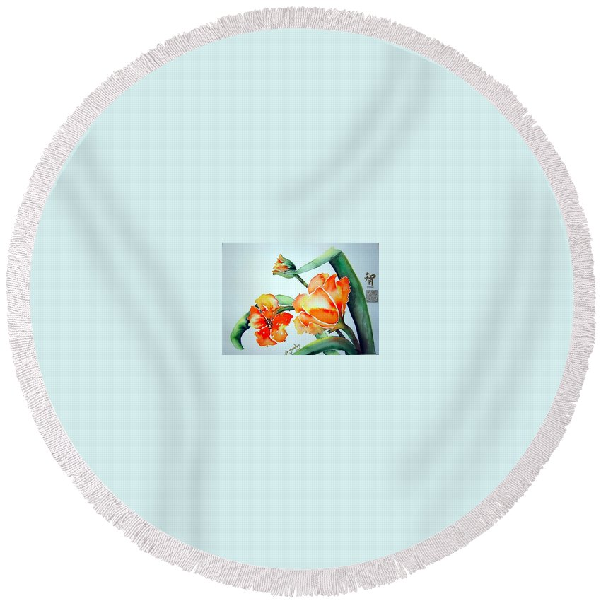 Tulips Or Poppies Round Beach Towel featuring the painting Stretching In The Spring Sun by Joanne Smoley