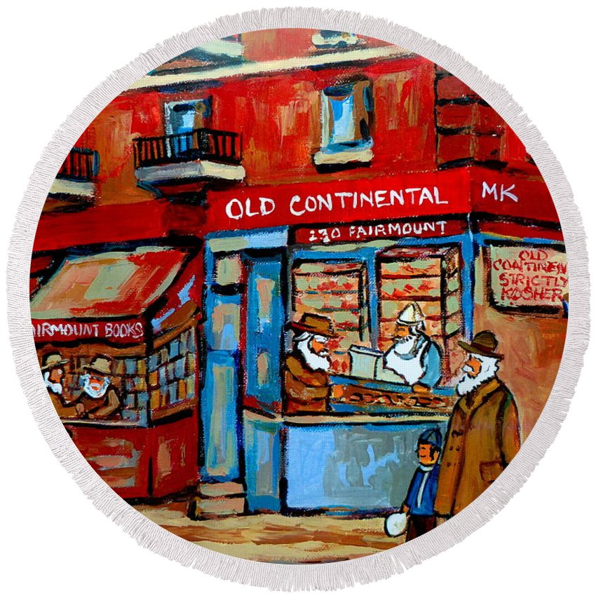 Old Continental On Fairmount Round Beach Towel featuring the painting Strictly Kosher by Carole Spandau