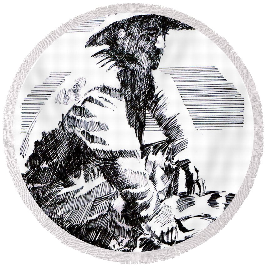 1850's Old West Round Beach Towel featuring the drawing Striking It Rich by Seth Weaver