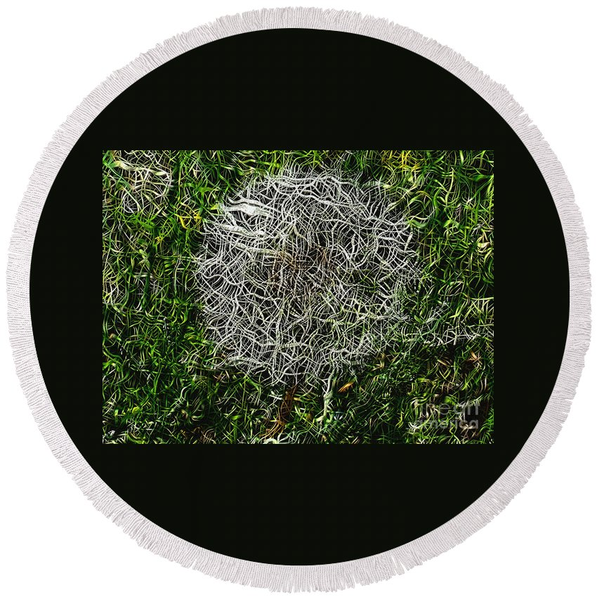 String Theory Dandelion Plant Art Artist Filter A An The Craig Walters Photo Photograph Photographic Biology Abstract Surreal Forge Grass Landscape Dynamic Color Round Beach Towel featuring the digital art String Theory Dandelion by Craig Walters