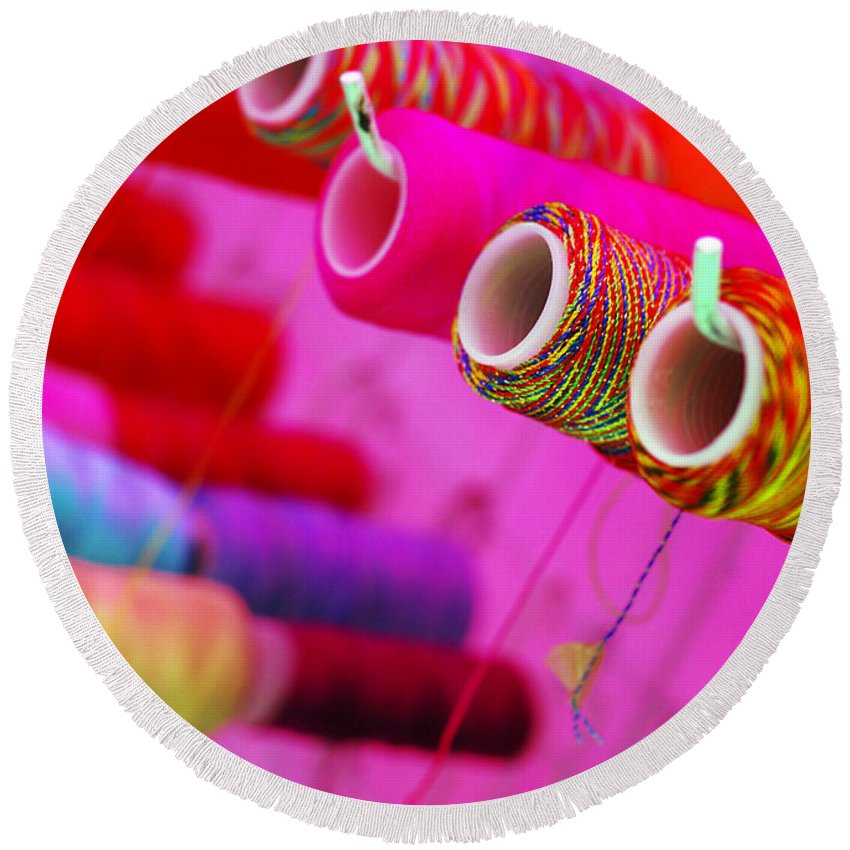 Color Round Beach Towel featuring the photograph String Theory by Skip Hunt