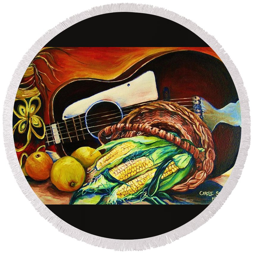 Country Life Round Beach Towel featuring the painting Strings Attached by Carole Spandau
